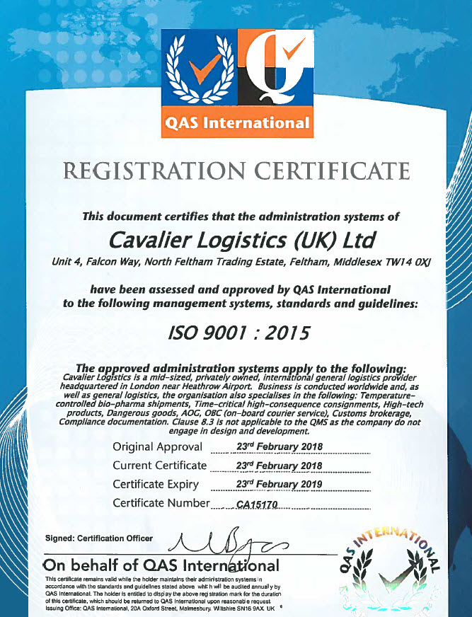 Cavalier UK - ISO 9001:2015 Accreditation